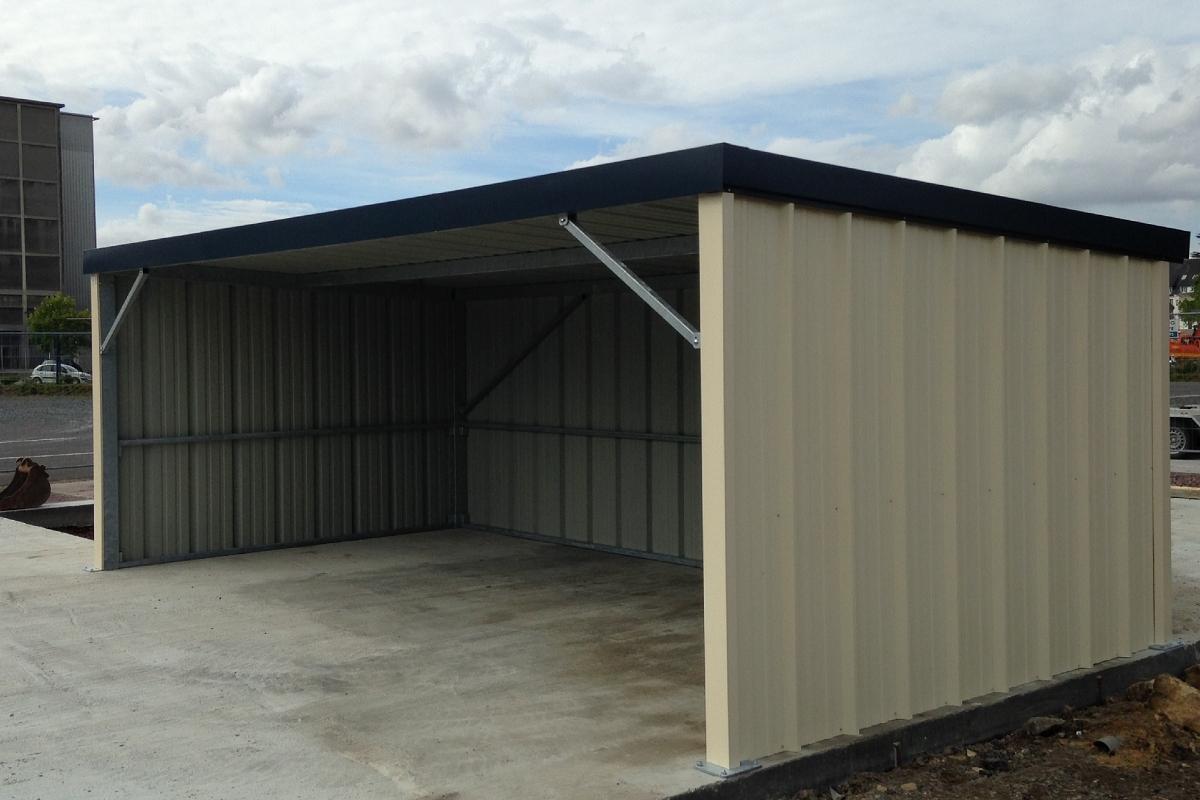 Garage ouvert abris v hicules pour pro toit pente arri re - Garage ouvert ...